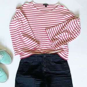 J.Crew Striped Bell Sleeve Knit Top
